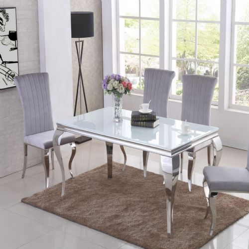 JP DT840 Dining table160cm (White Glass) & JP CH250 Plush Velvet Grey Chairs From Jesse plana